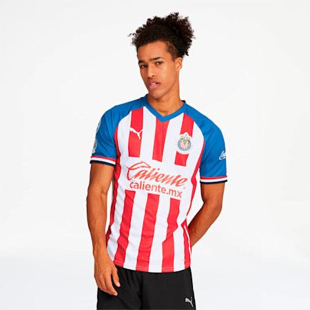 Camiseta promocional de local del Chivas 2019-20 para hombre , Puma Red-Puma Royal, pequeño