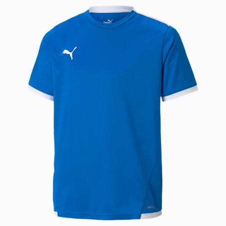 teamLIGA Youth Football Jersey, Electric Blue Lemonade-Puma White, small
