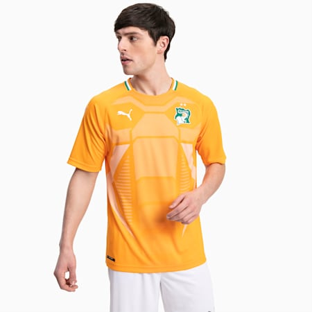 Ivory Coast Men's Home Replica Jersey, Flame Orange-Pepper Green, small-GBR