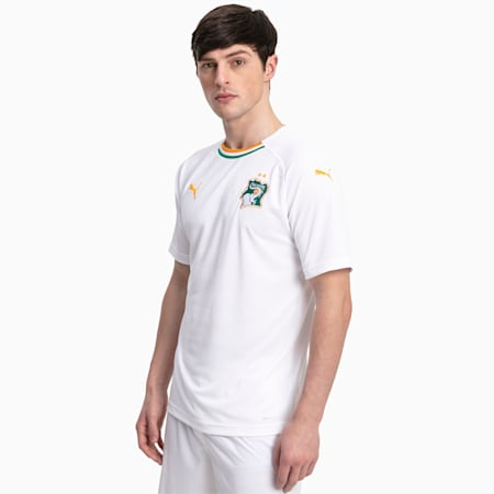 Meska replika koszulki wyjazdowej druzyny Wybrzeza Kosci Sloniowej, Puma White-Flame Orange, small