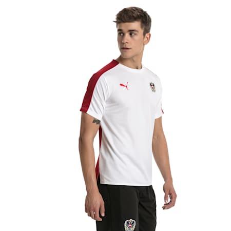 Austria Men's Stadium Jersey, Puma White-Red Dahlia, small