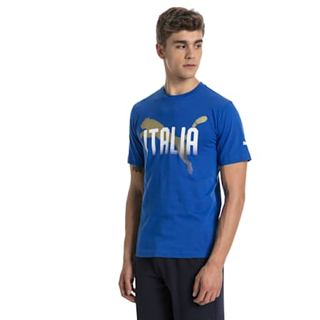 FIGC Men's Italia Fanwear Graphic Tee, Team Power Blue, small