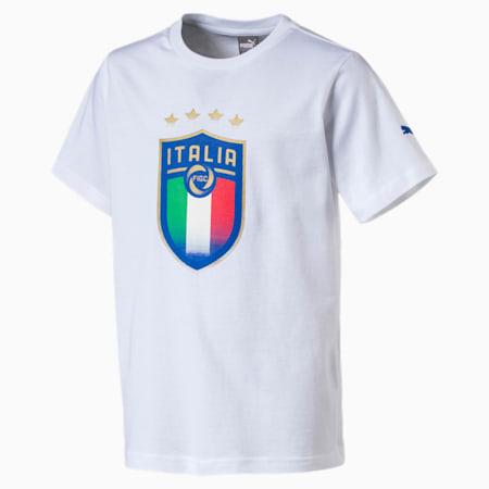 Koszulka z naszywka Italia Jr, Puma White, small