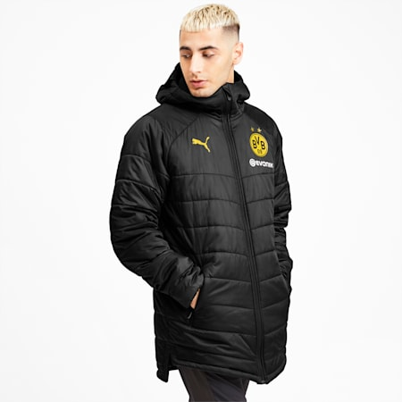 BVB Bench Men's Jacket, Puma Black-Cyber Yellow, small