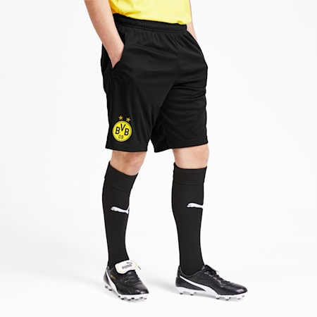 BVB Men's Training Shorts, Puma Black-Cyber Yellow, small-SEA