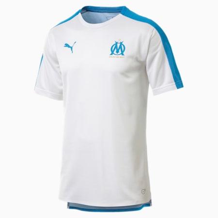 Olympique de Marseille Men's Stadium Jersey, Puma White-Bleu Azur, small