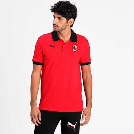AC Milan Men's Badge Piqué Polo, Tango Red-Puma Black, small-IND