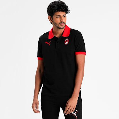 AC Milan Men's Badge Piqué Polo, Puma Black-Tango Red, small-IND