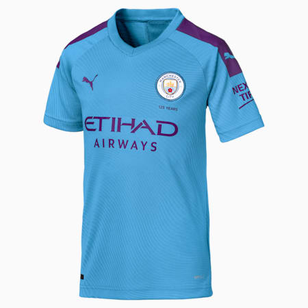 Manchester City FC Kids' Home Replica Jersey, TeamLightBlue-TillandsiaPurp, small