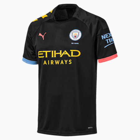 Man City Short Sleeve Men's Away Replica Jersey, Puma Black-Georgia Peach, small