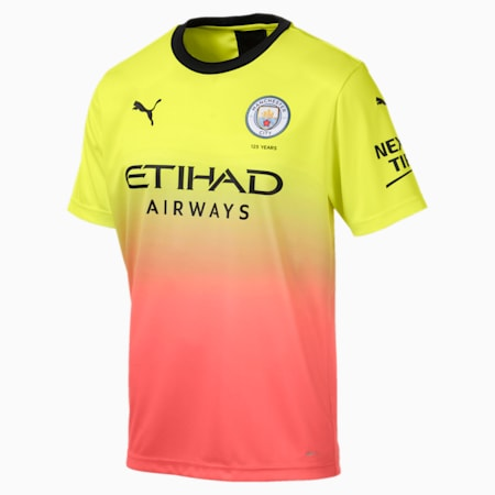 Man City Men's Replica Third Jersey, Fizzy Yellow-Georgia Peach, small