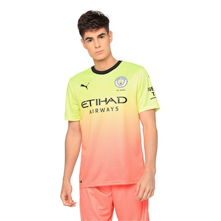 Man City Men's Replica Third Jersey, Fizzy Yellow-Georgia Peach, small-IND