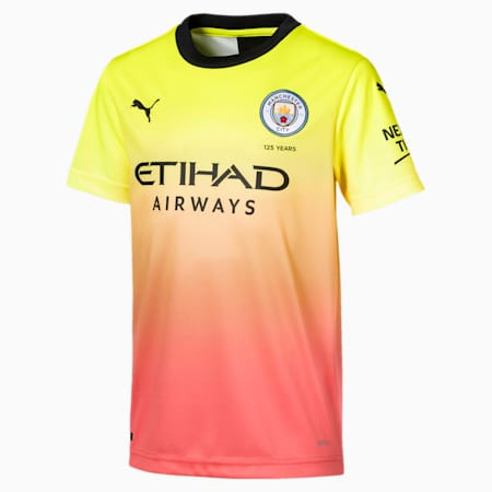 Man City Kids' Third Replica Jersey, Fizzy Yellow-Georgia Peach, small