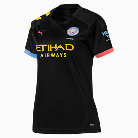 Man City Short Sleeve Women's Away Replica Jersey, Puma Black-Georgia Peach, small