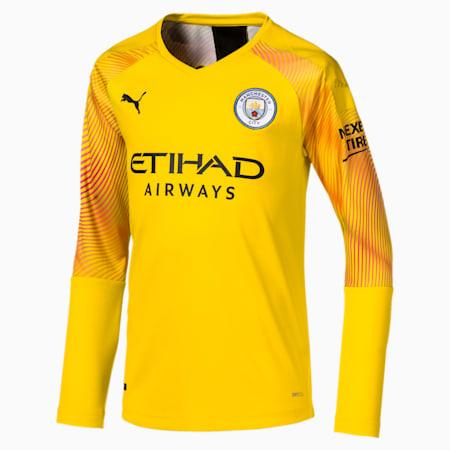 Dziecieca replika koszulki bramkarza z dlugim rekawem Man City, Cyber Yellow-Puma Black, small