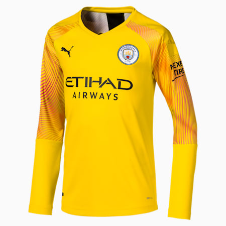 Man City Long Sleeve Kids' Replica Goalkeeper Jersey, Cyber Yellow-Puma Black, small