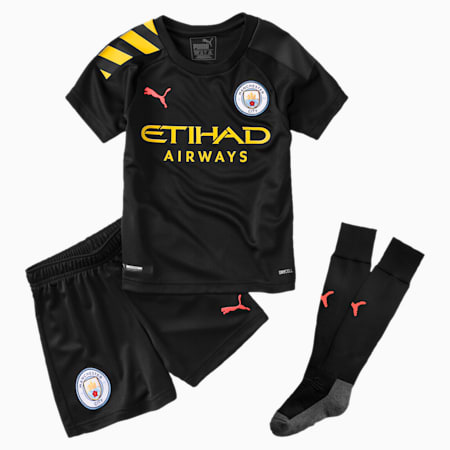 Man City Kids' Away Replica Mini Kit, Puma Black-Georgia Peach, small-SEA