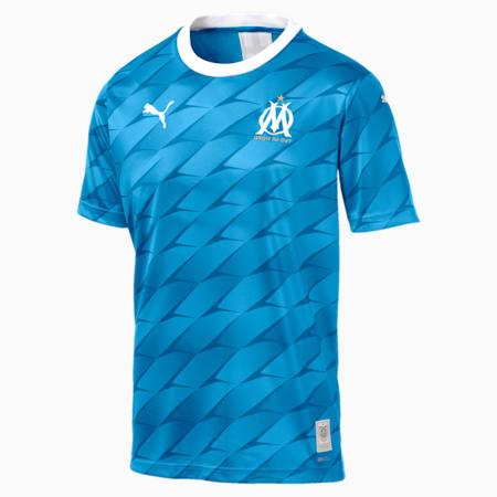 Olympique de Marseille Men's Away Replica Jersey, Bleu Azur-Puma White, small