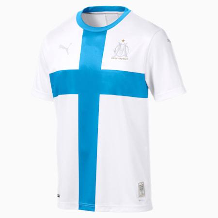 Meska replika koszulki pilkarskiej upamietniajacej 120 rocznice powstania klubu Olympique de Marseille, z krótkim rekawem, Puma White-Bleu Azur, small