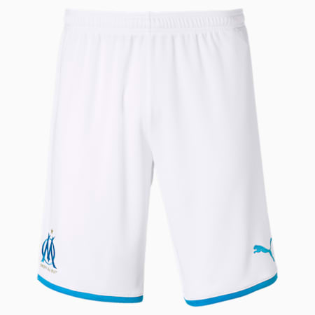 Olympique de Marseille Men's Replica Shorts, Puma White-Bleu Azur, small