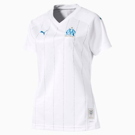 Camisola principal do Olympique de Marseille Replica para mulher, Puma White-Bleu Azur, small
