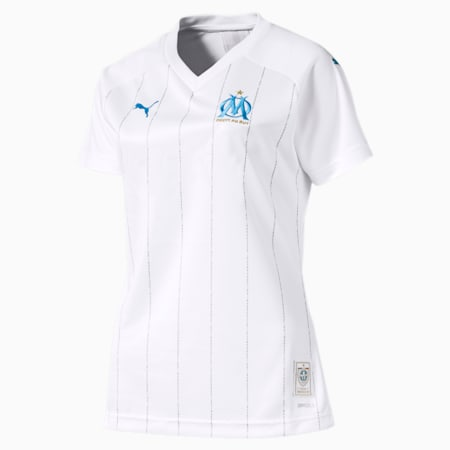 Olympique de Marseille Women's Home Replica Jersey, Puma White-Bleu Azur, small
