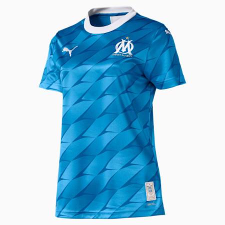 Maillot extérieur Olympique de Marseille Replica pour femme, Bleu Azur-Puma White, small