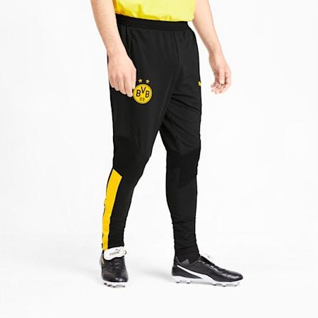 BVB Men's Pro Training Pants, Puma Black-Cyber Yellow, small