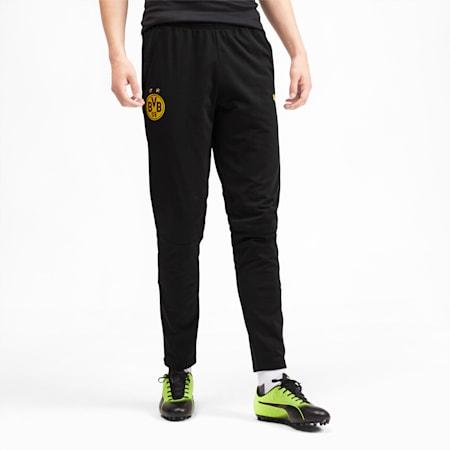 Męskie spodnie treningowe BVB, Puma Black-Cyber Yellow, small