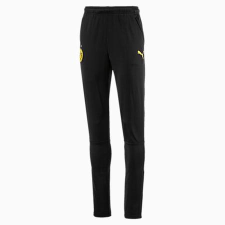 Dziecięce dzianinowe spodnie treningowe BVB, Puma Black-Cyber Yellow, small