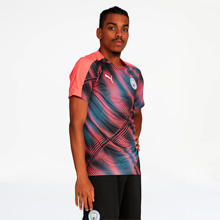 Camiseta Stadium League del Manchester City FC para hombre, Georgia Peach-Puma Black, pequeño
