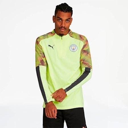 Manchester City FC Men's 1/4 Zip Top, Fizzy Yellow-Asphalt, small