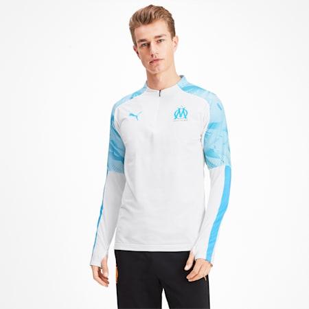 Olympique de Marseille Men's 1/4 Zip Training Top, Puma White, small