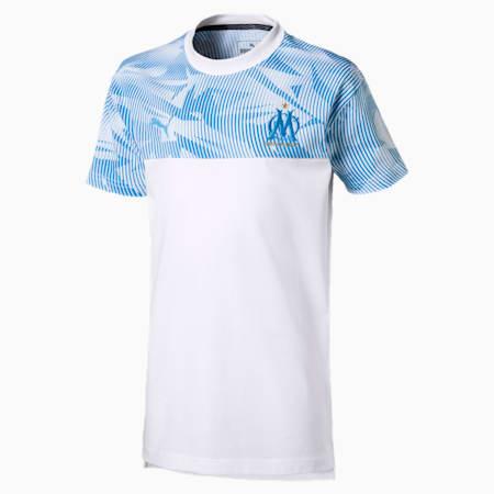 Olympique de Marseille Casuals Kids' Tee, Puma White-Bleu Azur, small
