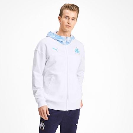Olympique de Marseille Casuals Men's Zipped Hoodie, Puma White-Bleu Azur, small