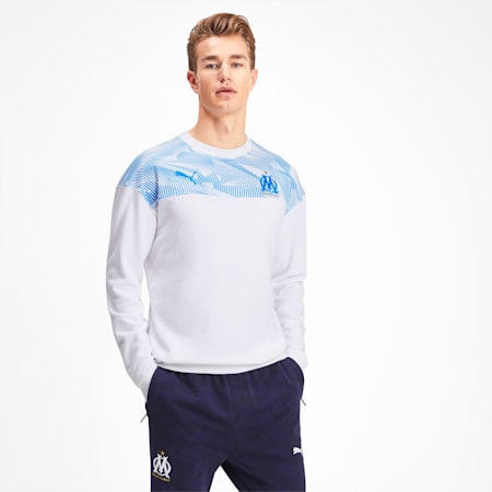 Olympique de Marseille Casuals Men's Sweater, Puma White-Bleu Azur, small