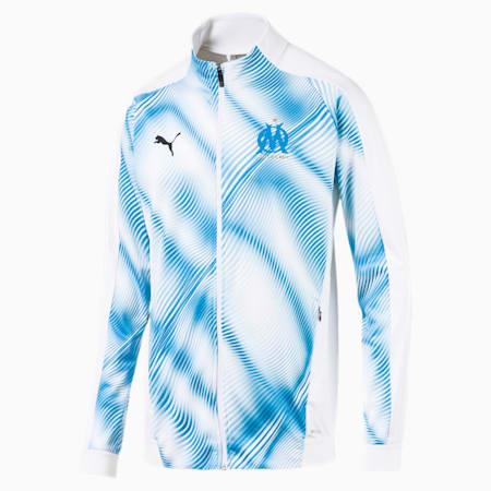 Olympique de Marseille Men's Stadium Jacket, Puma White-Bleu Azur, small