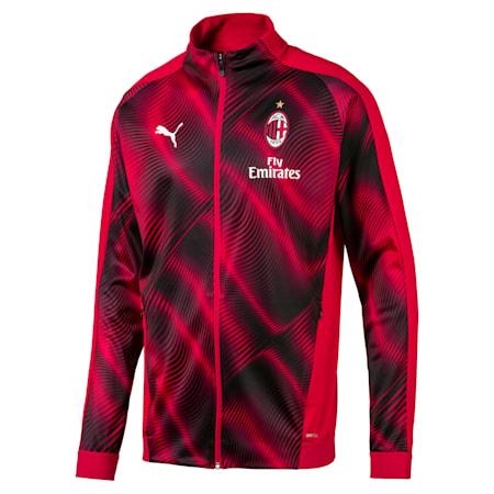 AC Milan Stadium Men's Jacket, Tango Red -Puma Black, small-SEA