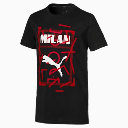 AC Milan DNA Kinder T-Shirt, Cotton Black-tango red, small