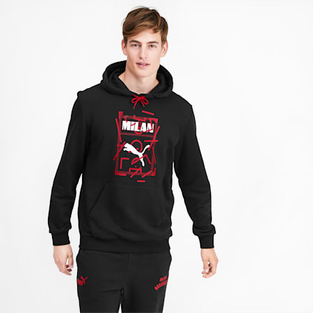 Chaqueta con capucha AC Milan DNA para hombre, Puma Black-Tango Red, pequeño
