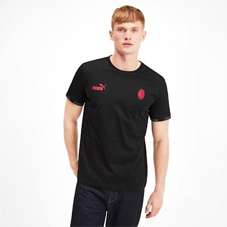 CamisetaAC Milan FtblCulture para hombre, Cotton Black-tango red, pequeño