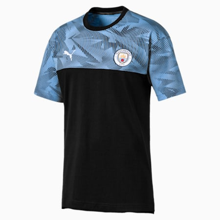 Man City Casuals Men's Tee, Puma Black-Team Light Blue, small