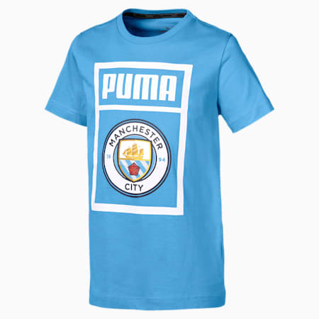 Manchester City Kinder Shoe Tag T-Shirt, Team Light Blue-puma white, small