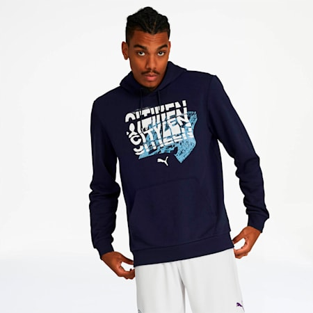 Manchester City FC Men's Graphic Hoodie, Peacoat-Team Light Blue, small