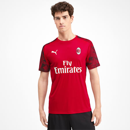 AC Milan Short Sleeve Men's Training Jersey, Tango Red -Puma Black, small