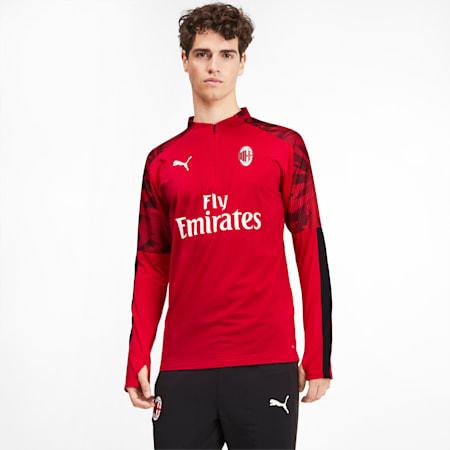 Camiseta AC Milan con cierre1/4 para hombre, Tango Red -Puma Black, pequeño
