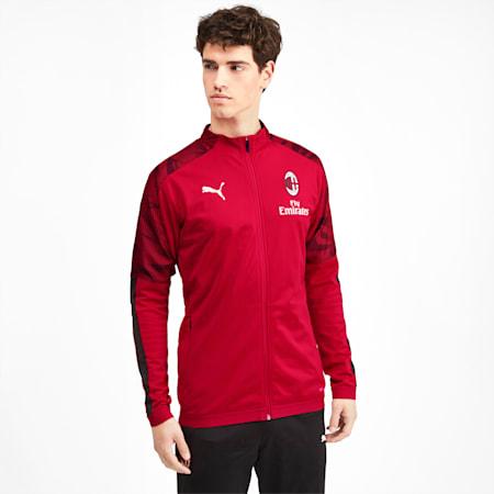 AC Milan Men's Poly Jacket, Puma Black-Tango Red -1, small