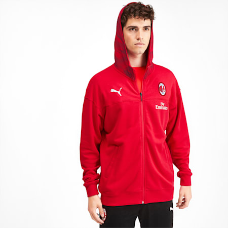 AC Milan Casuals Men's Hoodie, Tango Red -Puma Black, small