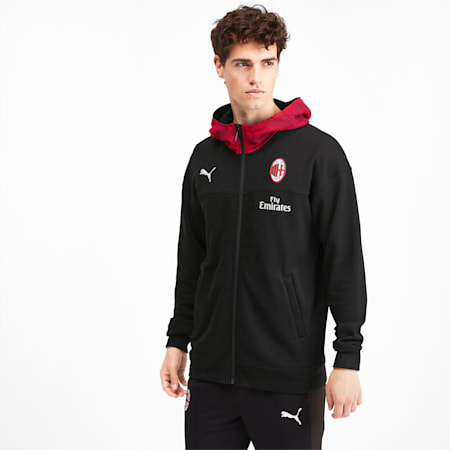 AC Milan Casuals Men's Hoodie, Puma Black-Tango Red, small