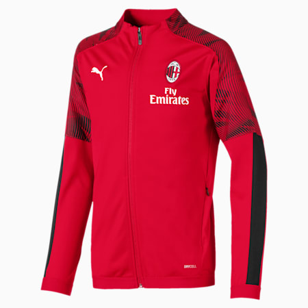 AC Milan Kids' Poly Jacket, Tango Red -Puma Black, small
